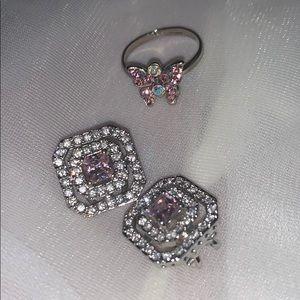 Vintage Pink Earrings & Ring Set